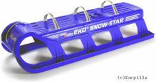120 cm EKO SWISS BOB SCHLITTEN ZWEI-DREI-SITZER blau RODELSCHLIT